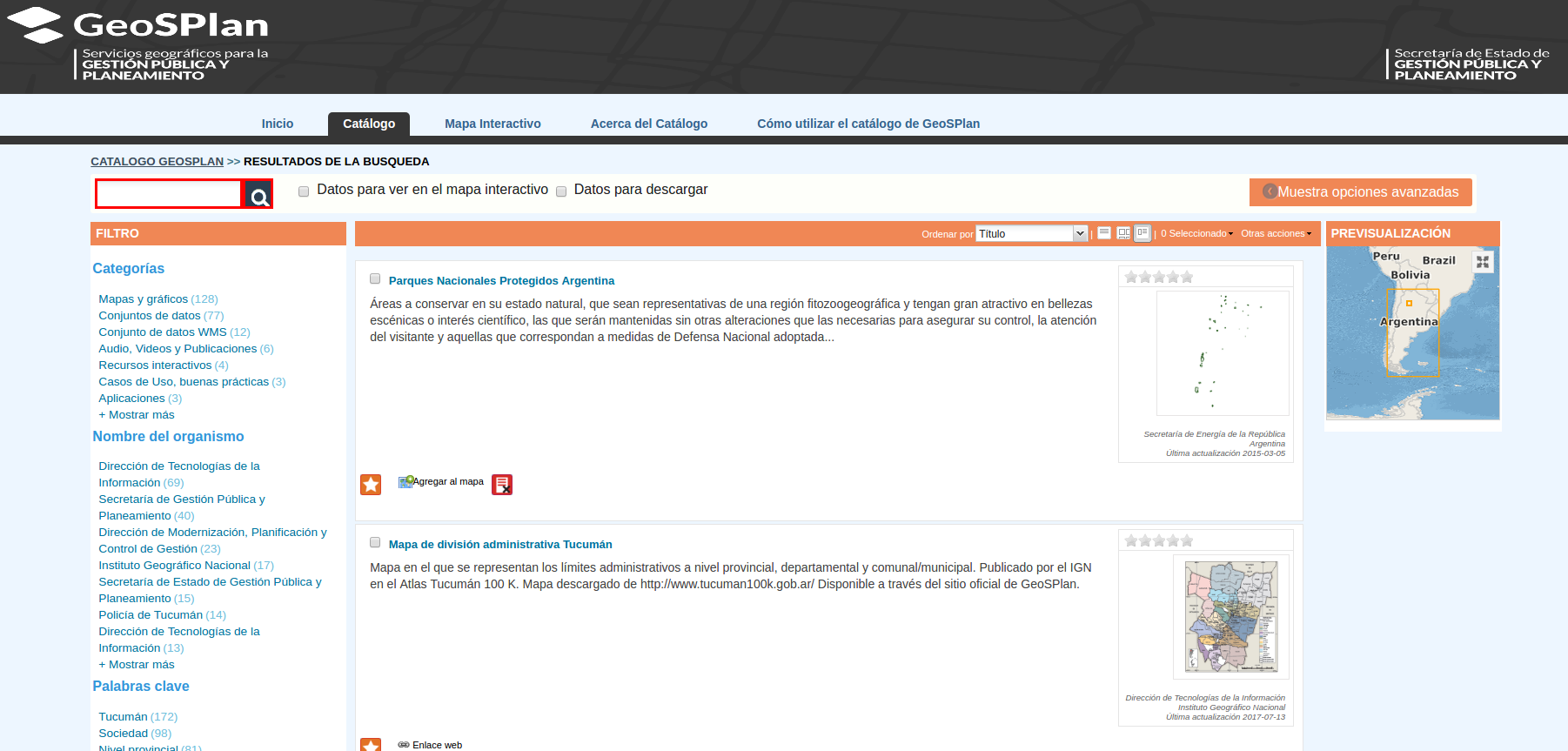 Catalogo de metadatos GeoSPLan