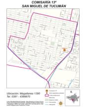 Mapa comisaría Nro 13 San Miguel de Tucumán 2014