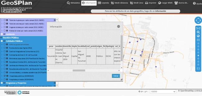 Datos de entidades públicas disponibles en el visor de GeoSPlan