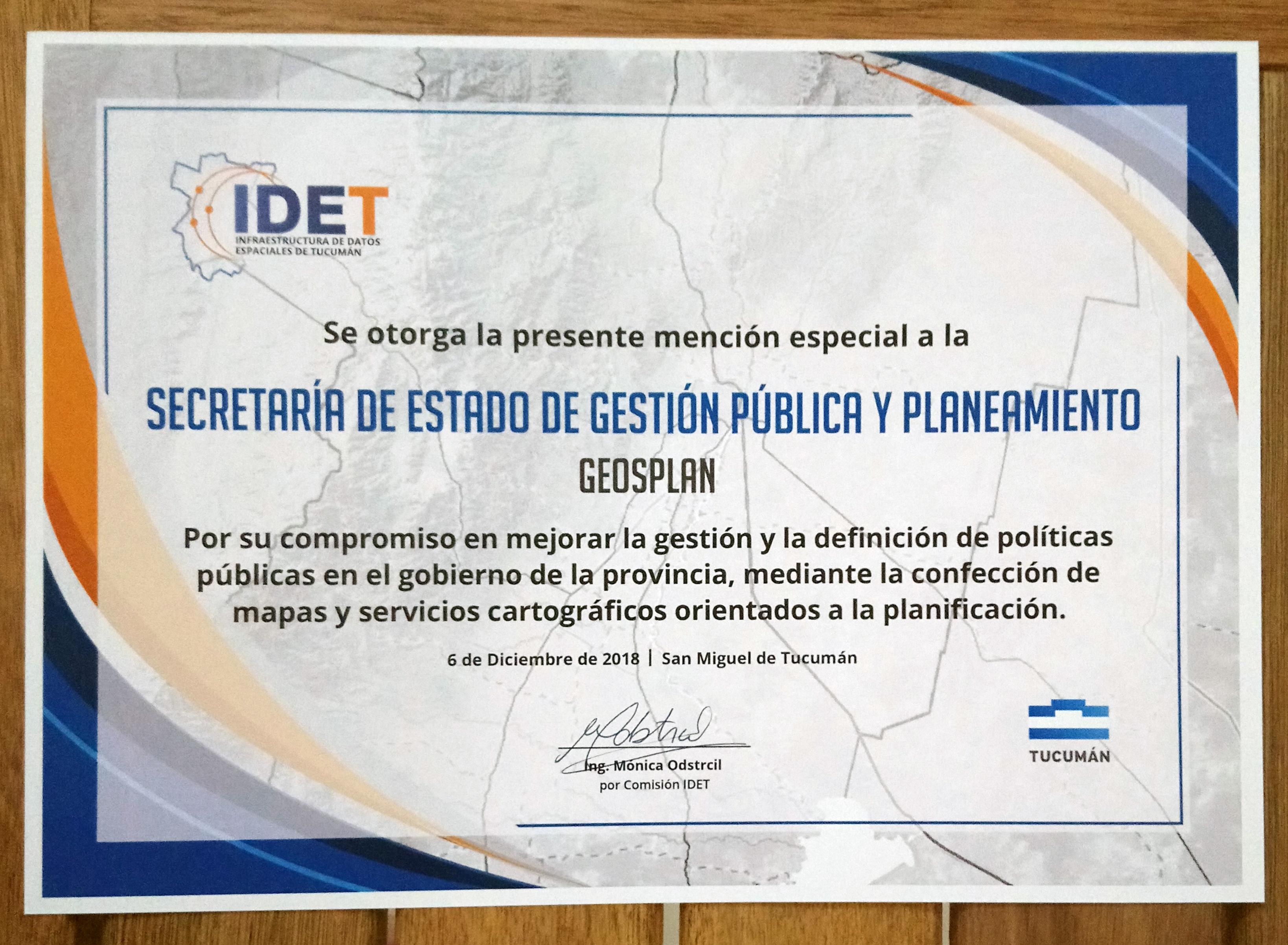 GeoSPlan recibe mención especial en la I Jornada IDET