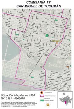 Mapa comisaría Nro 13 San Miguel de Tucumán 2019